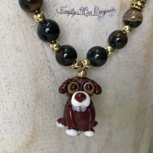 Brown Puppy from May Beads Necklace and Earrings Set