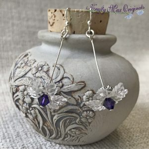 Clear Flowers with Purple Swarovski Crystals Earring