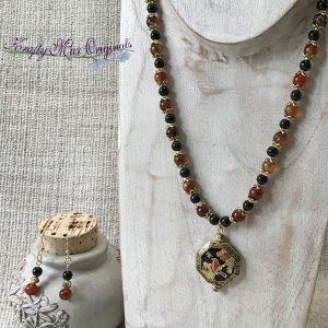 Cloisonne Bird Grandmothers Stash with Black Banded Agate and Black Onyx Gemstones Necklace Set