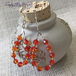 Fire Opal Swarovski Crystal Hoop Earrings