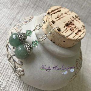 Green Gemstone and Green Swarovski Crystals Earrings