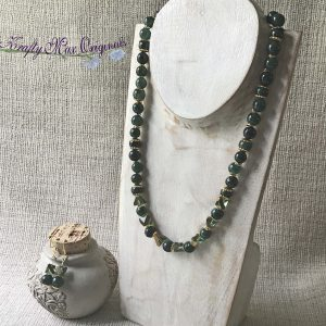 Green on Green Necklace and Earrings Set with Diamond Beads