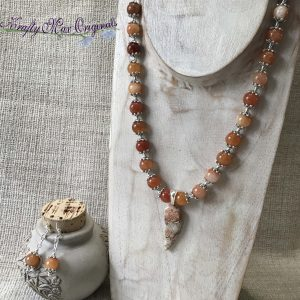 Orange Drop Gemstone Necklace and Earrings Set with Silver Plated End Caps