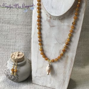 Orange (deep yellow) Necklace and Earrings Set with Shell from Granmothers Stash