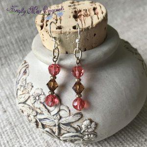 Peach and Brown Swarovski Crystal Earrings