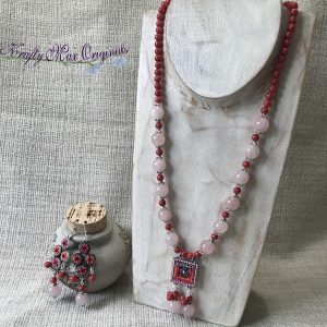 Pink and Peach Dangle Necklace and Earrings Set