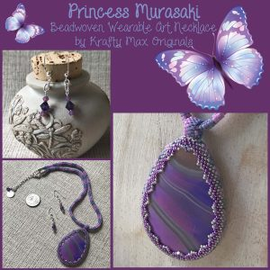 Princess Murasaki Beadwoven Wearable Art Necklace and Earrings Set (Matte Purple Onyx)
