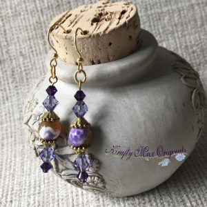 Purple Swarovski Crystals and Gemstone Earrings