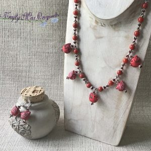 Red Birds from BeadyEyedBunny with Red Bamboo Necklace and Earrings Set