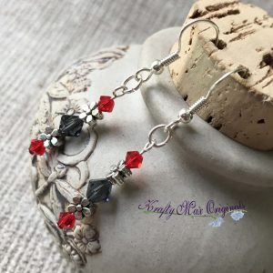 Red and Grey Swarovski Crystals and Flowers Earrings