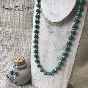Russian Green Amazonite Necklace and Earrings Set