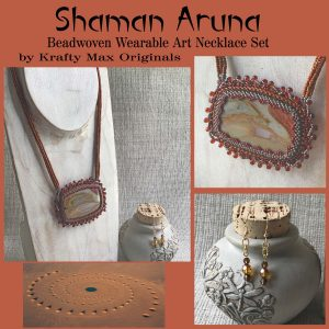 Shaman Aruna Beadwoven Weearable Art Necklace and Earrings Set