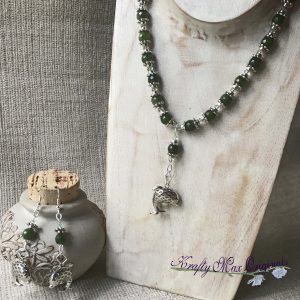 Silver Plated Dolphins with Green Gemstones and Swarovski Crystals Necklace and Earrings Set