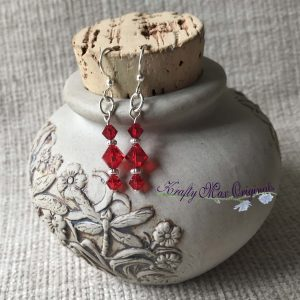 Simple Red Swarovski Crystals Earrings