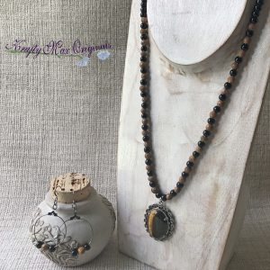 Tigereye Pendant with Black Beads Necklace and Earrings Set
