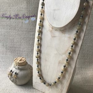 Yellow Grey Green Gemstones with Teal Swarovski Pearls Necklace and Earrings Set