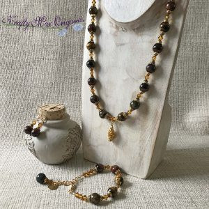Tigereye Gemstone and Topaz Swarovski Crystals Necklace Bracelet and Earrings with Gold Plated Pine Cone