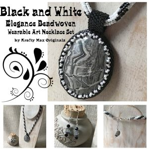 Black and White Elegance Beadwoven Wearable Art Necklace Set