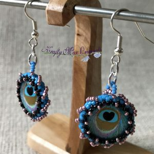 Teal and Pink Peacock Beadwoven Earrings