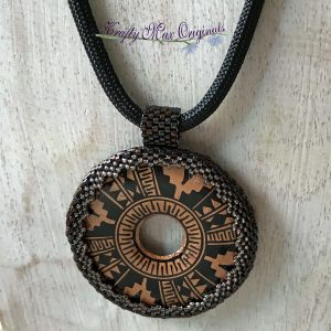 Bronze and Black Aztec Beadwoven Necklace