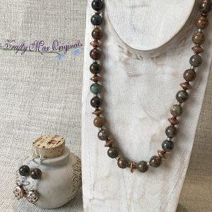Copper and Silver African Green Opal Necklace and Earrings Set