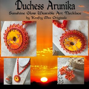 Duchess Arunika Sunshine Glow Wearable Art Beadwoven Necklace and Earrings Set with Swarovski Crystals