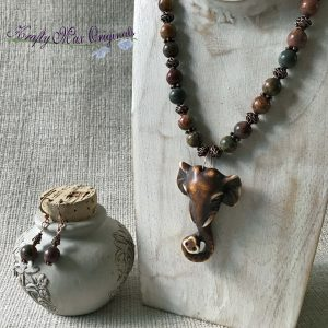 Regal Elephant with Copper and Red Creek Jasper Necklace and Earrings Set