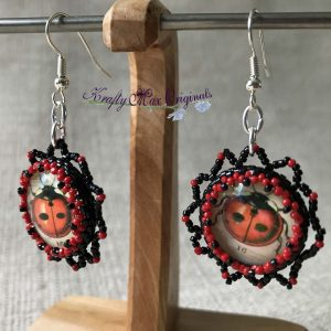 Black and Red Lady Bug Beadwoven Earrings