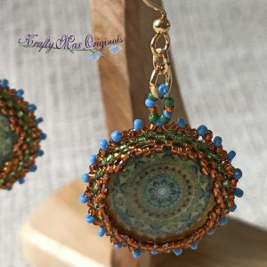 Bronze and Blue Madala Beadwoven Earrings