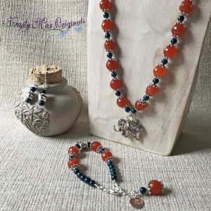 Orange Gemstones and Blue Swarovski Crystals with Elephants – Necklace Bracelet and Earrings Set