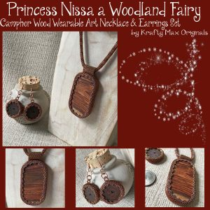 Princess Nissa a Woodland Fairy – Camphor Wood Wearable Art Necklace & Earrings Set