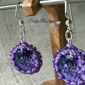 Purple Splash Beadwoven Earrings