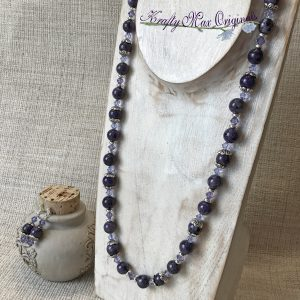 Purple Charolite with Purple Swarovski Crystals and Silver Plated Findings Necklace Set