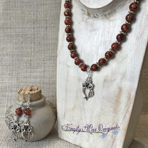 Red Black Gemstones with Cute Silver Plated Beads and Owls Necklace and Earrings Set