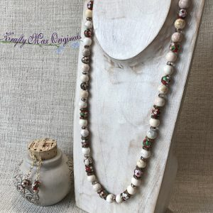 Red Cloisonné and Ivory Magnesite Necklace and Earrings Set