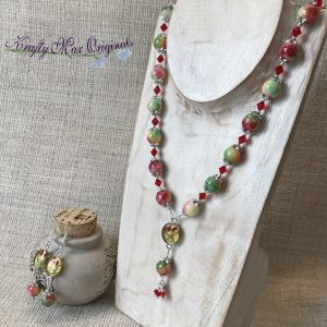 Red Yellow Green Gemstone and Dried Flowers Necklace and Earrings Set
