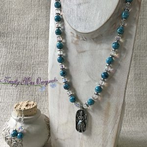 Teal Gemstones with German Crystals and 1000 Wishes Fairy Necklace and Earrings Set
