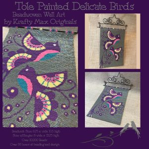 Tole Painted Delicate Birds Beadwoven (Off Loom) Wall Art