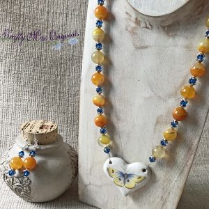 Yellow Banded Agate and Blue Swarovski Crystals with Butterfly from Grandmothers Stash Necklace Set