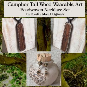 Camphor Tall Wood Wearable Art Beadwoven Necklace Set