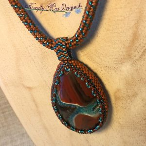Mahogany Brown and Teal Beadwoven Wearable Art Neckalce