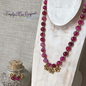 Pink and Gold with Beautiful Flower Dangles Necklace and Earrings Set