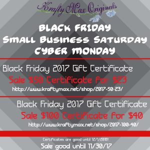 Black Friday 2017 Gift Certificate Sale $50 Certificate for $23