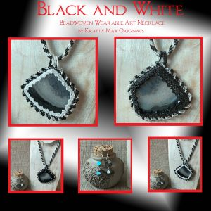 Black and White Beadwoven Wearable Art Necklace Set