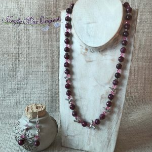 Burgundy Gemstone and Pink Swarovski Crystals Necklace Set with Hummingbirds