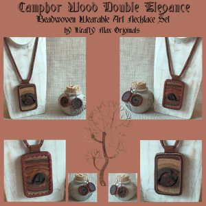 Camphor Wood Beadwoven Wearable Art Necklace and Earrings Set