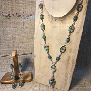 Peach and Teal Dragonfly Necklace Set with Swarovski Crystals
