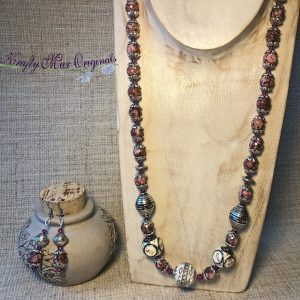 Rhodonite (Pink) and Silver with Swarovski Crystal Necklace Set