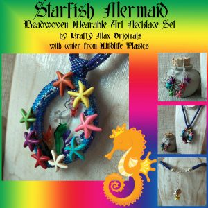 Starfish Mermaid with Star Fish Beadwoven Wearable Art Necklce Set