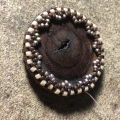Black and White Beadwoven Wearable Art Necklace (listed) and Camphor Wood Necklace (working on earrings)!